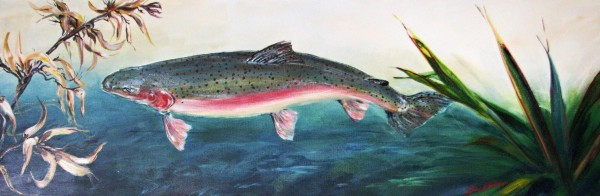 Trout and Harakeke by Sue Graham