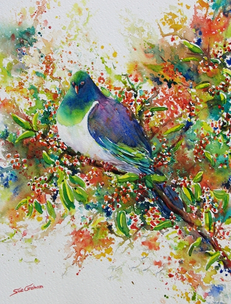 Kereru in Karamu painting by Sue Graham