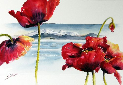 Poppies at the Lake by sue graham