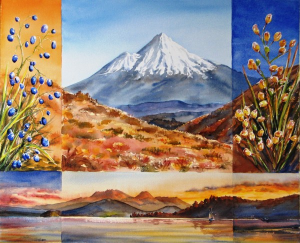 Taranaki from Tongariro by Sue Graham