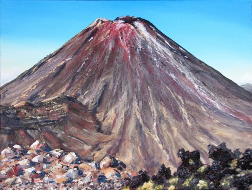 Mt Ngauruhoe painting by Sue Graham