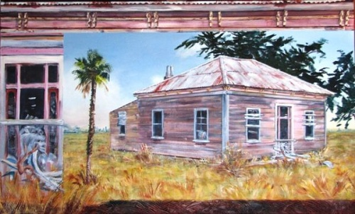 Old farm house painting by Sue Graham